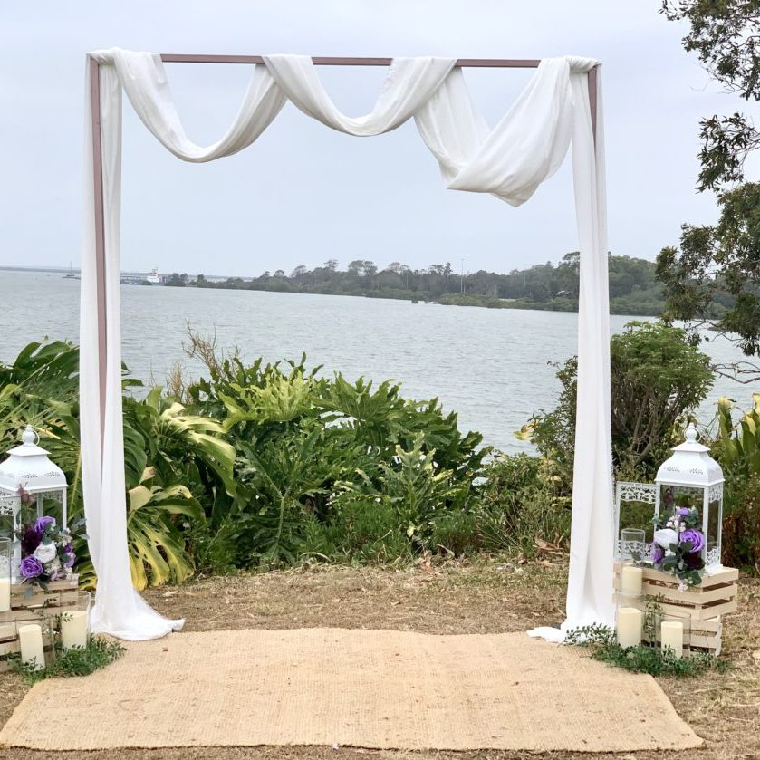 white draping arbour